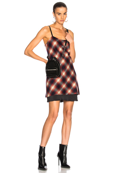 Calvin Rucker for FWRD Wake Me Up Before You Go Go Dress in Checkered & Plaid, Red
