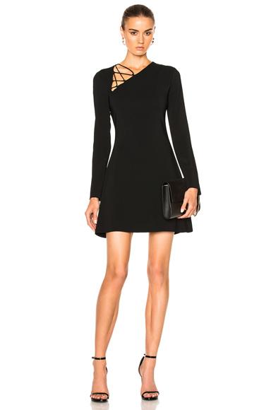 Cushnie et Ochs Winona Long Sleeve Fit & Flare Dress in Black