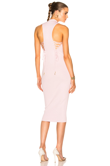 Cushnie et Ochs Deep Racer Lace Up Dress in Pink