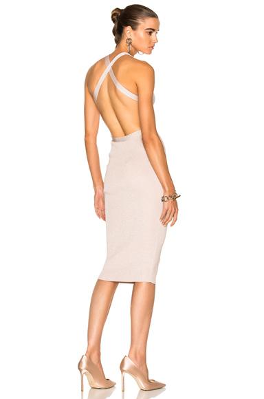 Cushnie et Ochs for FWRD Knit Pencil Dress With Crisscross Straps in Pink