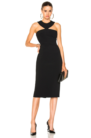 Cushnie et Ochs Pencil Dress with Collar Neckline in Black