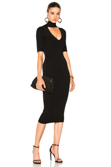 Cushnie et Ochs Cutout Turtleneck Pencil Dress in Black
