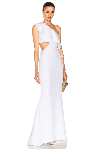 Cushnie et Ochs Crepe Gown with Sash Detail in White