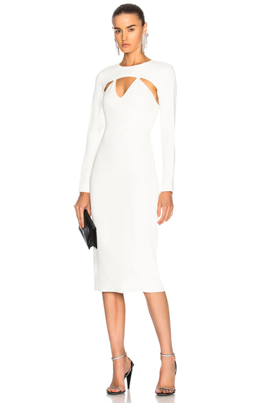 Cushnie et Ochs Long Sleeved Pencil Dress in White