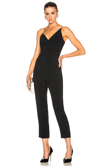 Cushnie et Ochs One Shoulder Cropped Sleeveless Jumpsuit in Black