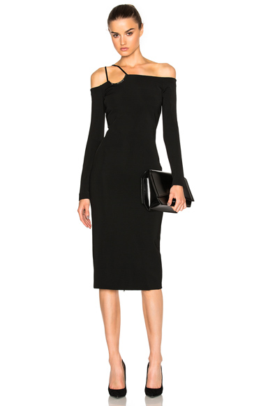 David Koma Off Shoulder Dress in Black