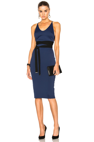 David Koma Side Cut Out Pencil Dress in Black in Blue