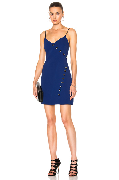 David Koma Loops & Metal Balls Detailing V-Cut Mini Dress in Blue