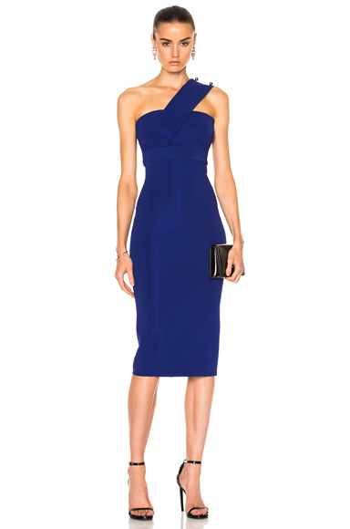 David Koma Over Shoulder Strap Pencil Dress in Blue