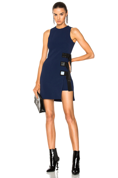 David Koma Metal Square & Ribbon Detail Sleeveless Dress in Black, Blue