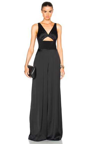 David Koma Ruched Bra Wide Trouser Jumpsuit in Black