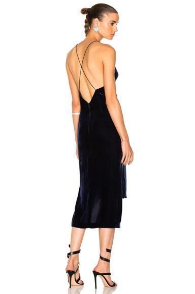 Dion Lee Velvet Fine Line Cami Dress in Blue