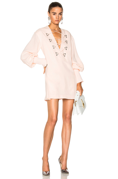 Dion Lee Military Blouson Mini Dress in Pink