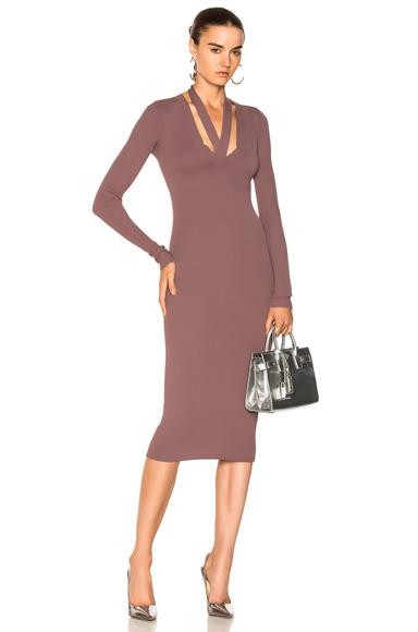 Dion Lee Pinnacle Placket Tie Long Sleeve Dress in Purple
