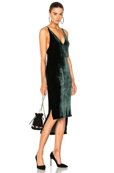 Dion Lee Silk Velvet Fine Line Cami Dress in Green