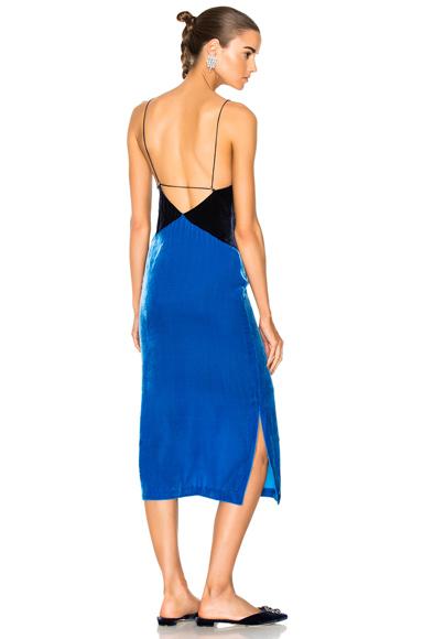 Dion Lee Laced Velvet Slip Dress in Blue