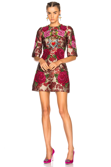 Dolce & Gabbana Floral Jacquard Embellished Mini Dress in Floral, Red