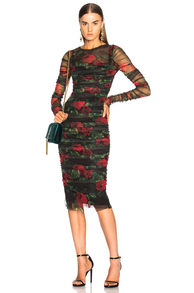 Dolce & Gabbana Rose Print Tulle Ruched Dress in Black, Floral, Red