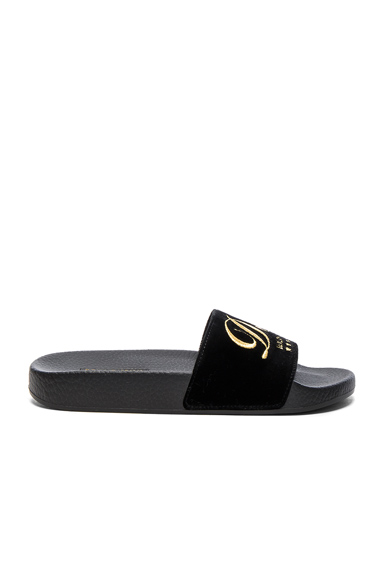 Dolce & Gabbana Velvet DG Pool Slides in Black