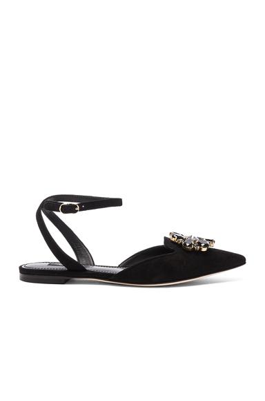 Dolce & Gabbana Suede Belucci Flats in Black