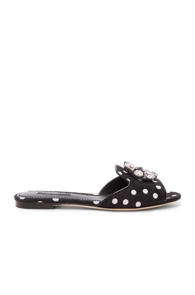 Dolce & Gabbana Flat Sandal in Black, Geoemtric Print