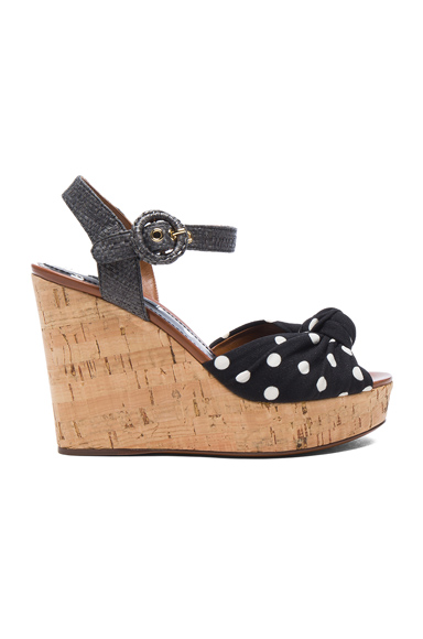 Dolce & Gabbana Wedge in Geometric Print, Black, Gray