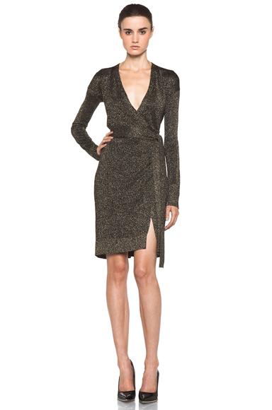 DIANE VON FURSTENBERG | Fosette Dress in Black & Gold