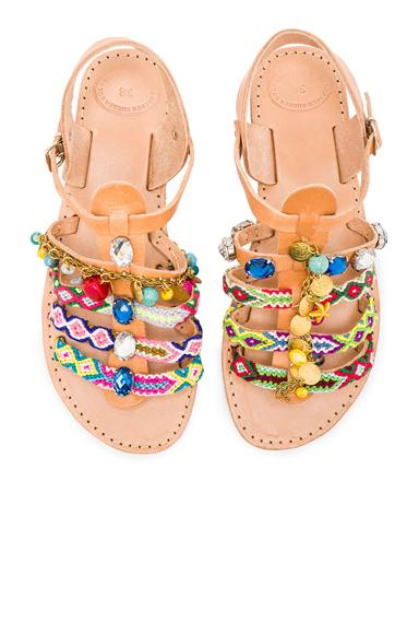 Elina Linardaki Astarte II Leather Sandals in Neutrals, Neon