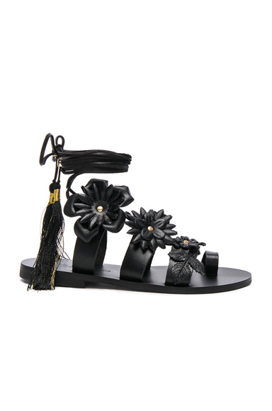 Elina Linardaki for FWRD Leather Lace up Sandals in Black
