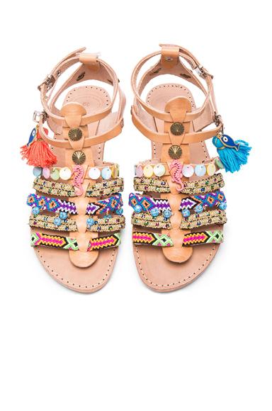 Elina Linardaki Saltwater Leather Sandals in Neutrals, Neon