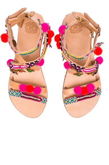 Elina Linardaki Leather Gipsy Spell Sandals in Neutrals, Neon