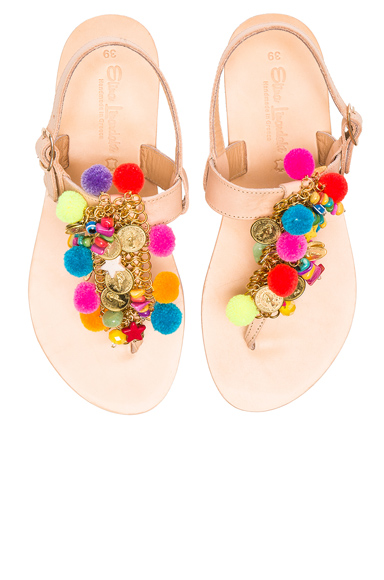 Elina Linardaki Leather Jelly Tots Sandals in Neutrals, Neon