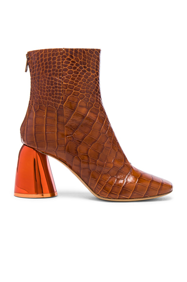 Ellery Croc Embossed Jezebels Boots in Brown, Animal Print