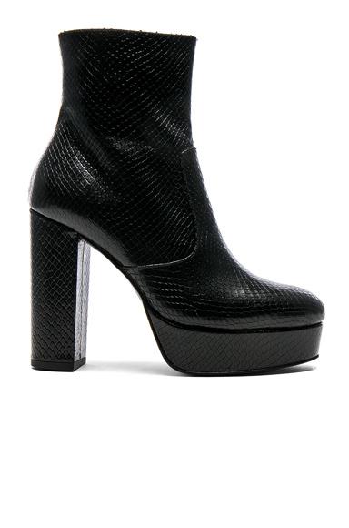 elysewalker los angeles Snakeskin Platform Booties in Black, Animal Print