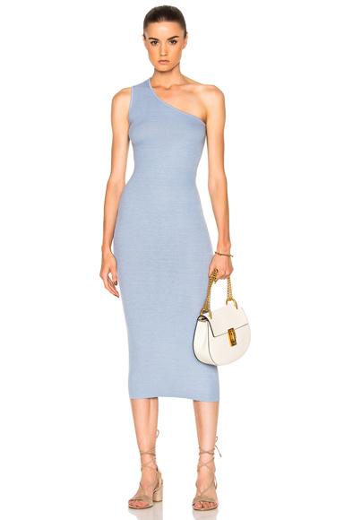 Enza Costa Rib One Shoulder Midi Dress in Blue