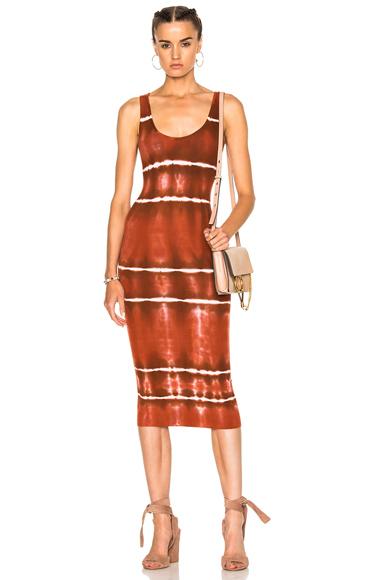 Enza Costa Rib Tank Dress in Ombre & Tie Dye, Red