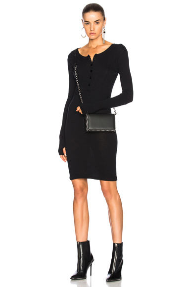 Enza Costa Cuffed Sleeve Dress in Black