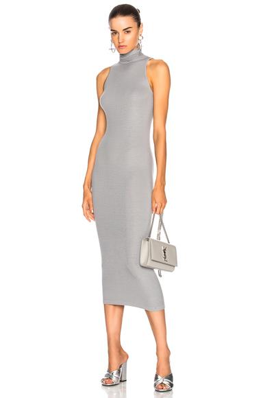 Enza Costa Turtleneck Sleeveless Dress in Gray