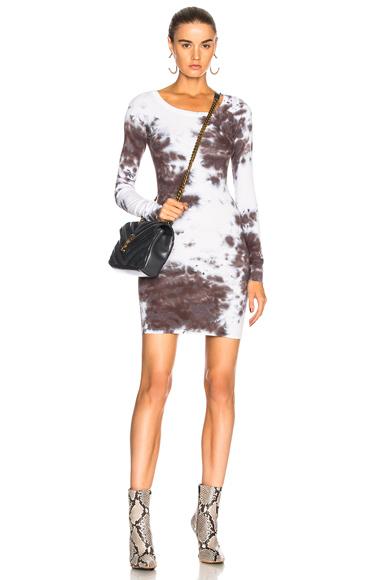 Enza Costa Rib Crew Dress in Gray, Ombre & Tie Dye