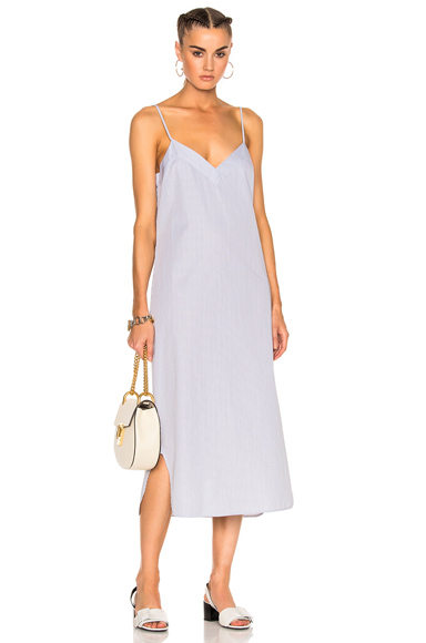 Equipment Dian Dress in Blue, Stripes, White