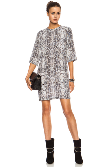 EQUIPMENT | Aubrey Obscure Cobra Print Silk Dress in Silver Sconce