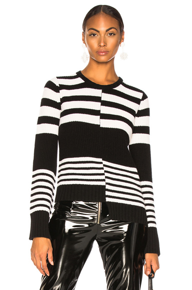 EQUIPMENT | Equipment Elm Sweater In Black,Stripes,White. - Size XS (Also In L) | Goxip