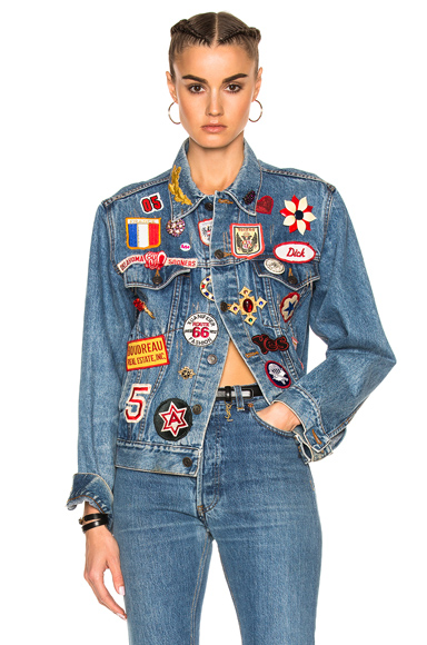 ERTH for FWRD Vintage x Patch Jacket in Blue