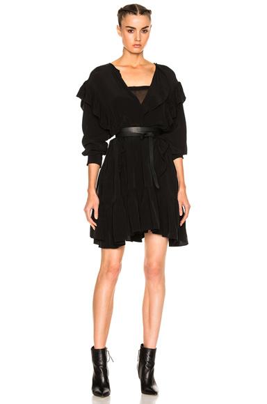 Isabel Marant Etoile Wedy City Flou Ruffled Mini Dress in Black