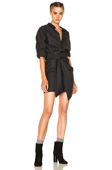 Isabel Marant Etoile Nolla Super 100 Wool Dress in Gray