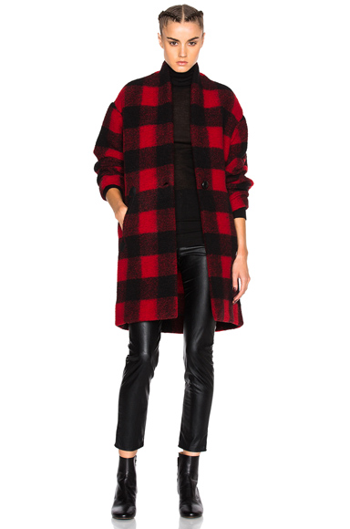 Isabel Marant Etoile Gabrie Blanket Coat in Red, Checkered & Plaid