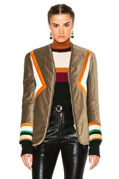 Isabel Marant Etoile Lalia Velvet Patch Jacket in Green, Neutrals, Geometric