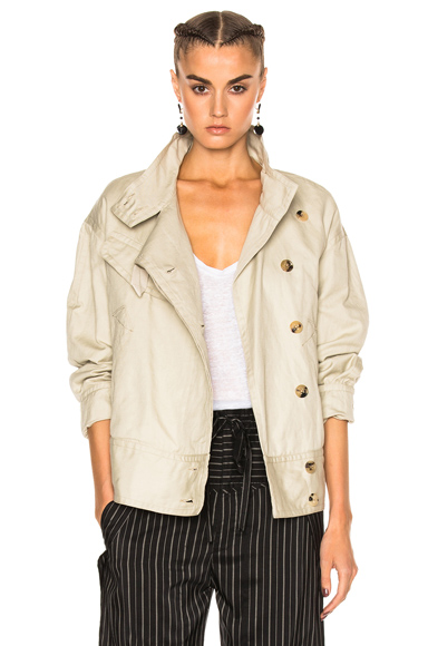 Isabel Marant Etoile Ira Cotton Linen Jacket in Neutrals