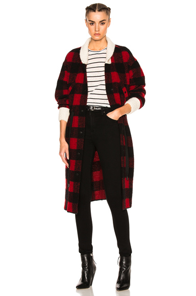 Isabel Marant Etoile Glitz Blanket Coat in Black, Checkered & Plaid, Red