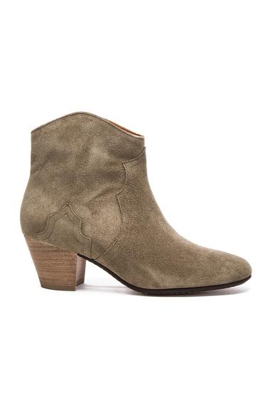 Isabel Marant Etoile Dicker Velvet Booties in Gray